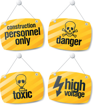 different danger signs vector icons set