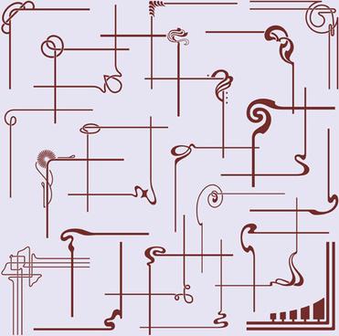 different decorative corners design vector