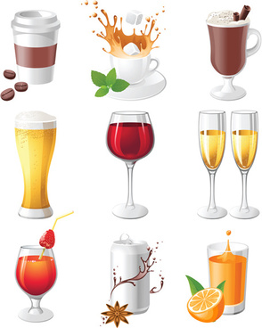 different delicious drinks vector illustration