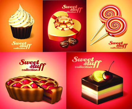 different desserts vector art