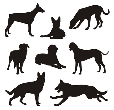 different dog silhouettes vector