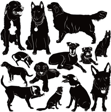 different dog vector silhouettes graphic