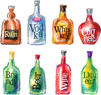 different drink colored drawn vector