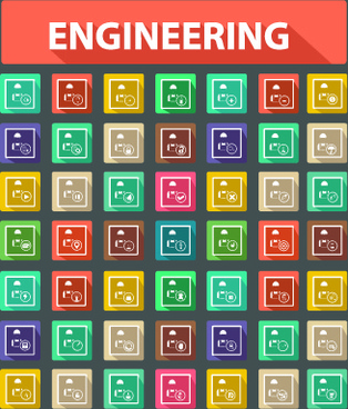 different engineering elements icons vector