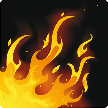 different fire vector illustration set