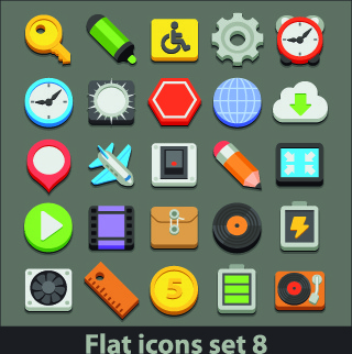 different flat icons vector set