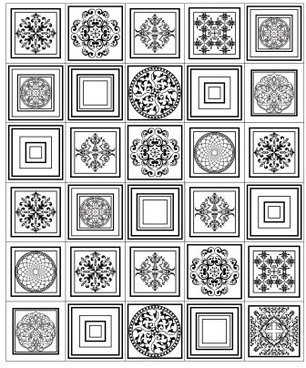 different floral pattern vectors set