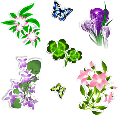 different flower and butterflies vector