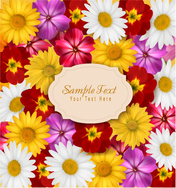 different flower seamless pattern background vector