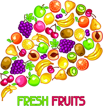 different fresh fruit vector background