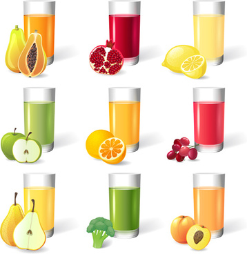 different fruit juice cup vector