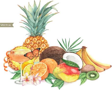 different fruits watercolor vectors design
