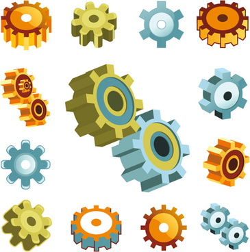 different gears mix vector set