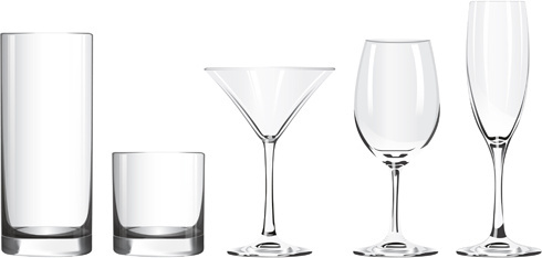 different glass cups vector