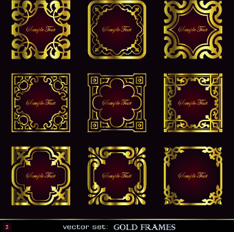 different gold frames vector