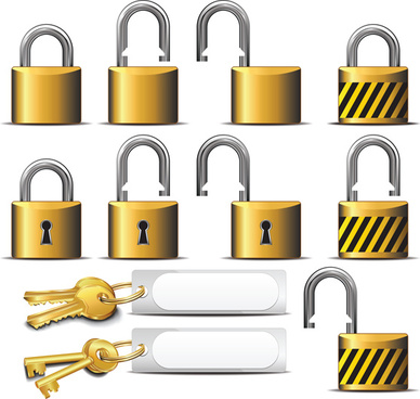different golden lock and key vector