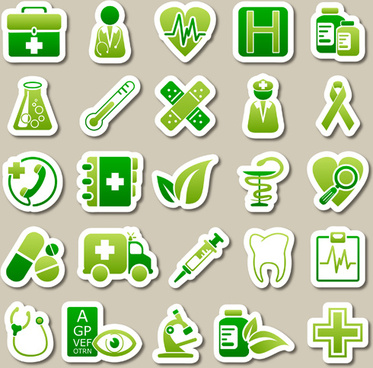 different green icon vector set