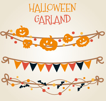 different halloween garland vector