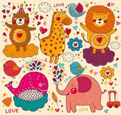 different hand draw animals design vector set