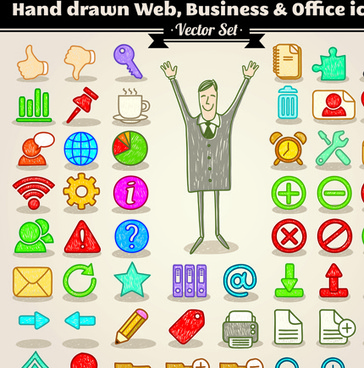 different hand drawn retro icons vector graphic