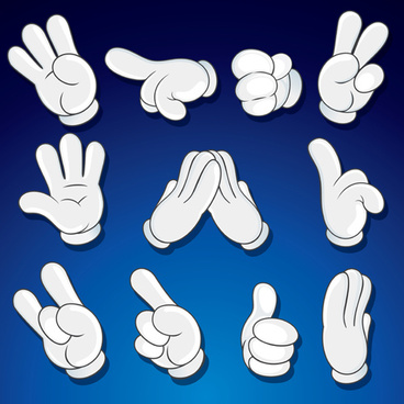 different hand gesture vector set