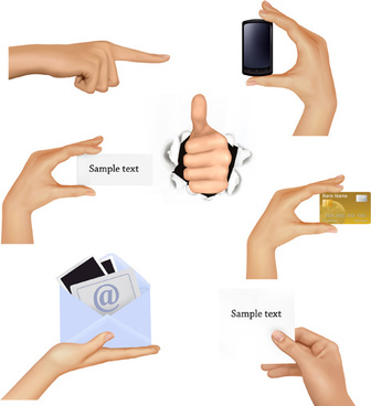 different hands gesture design vector