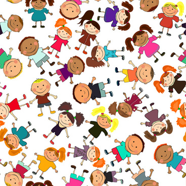 different happy kids design vector graphic