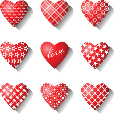 different heart icons design vector set