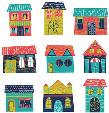 different house set vector