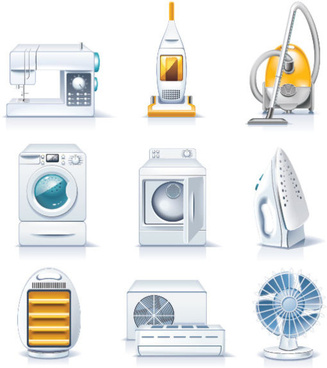 different household appliances vector art