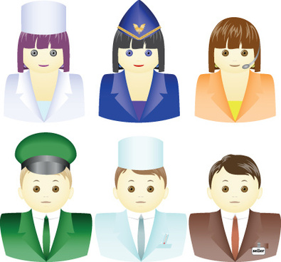 different industries cute figures people vector