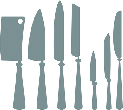 different kitchen cutlery silhouette vector