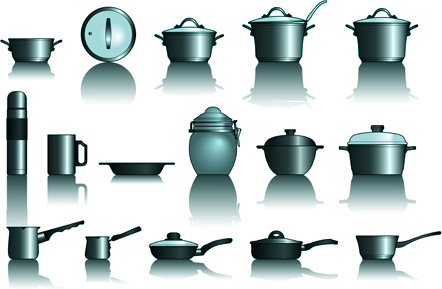 different kitchen utensils vector
