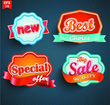 different labels stickers creative vector set