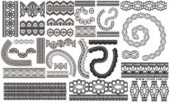different lace design elements vector