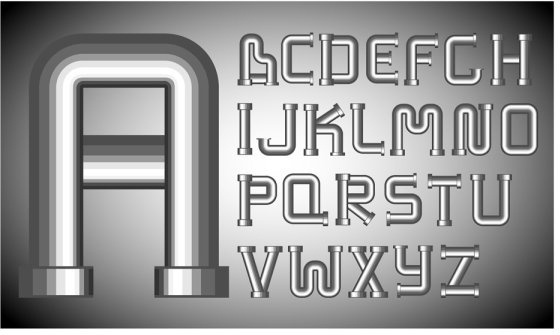 different letters 01 vector