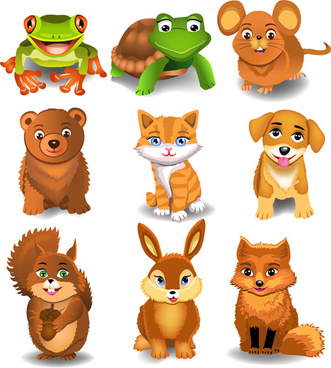 different lovely animals design vector
