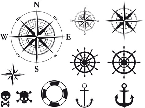 different marine elements vector set