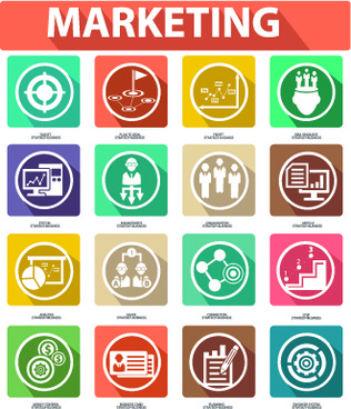 different marketing icons vector