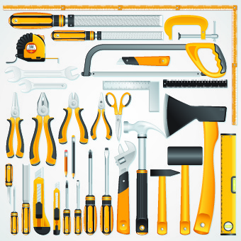 different mechanical tools vector
