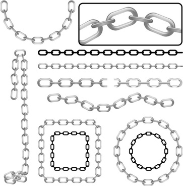 different metal chain art background vector