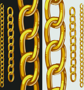 different metal chain borders vector set