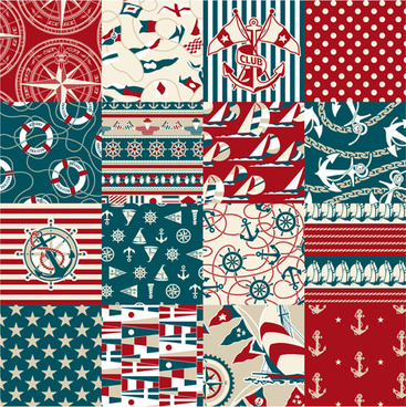 different nautical pattern vector set