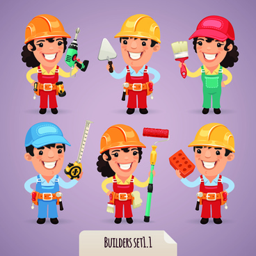different occupations cartoon characters vector