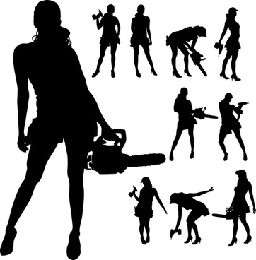 different occupations man and woman silhouettes vector