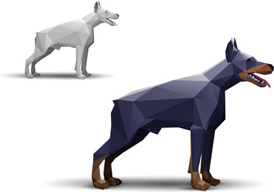 different of model origami animals vector set