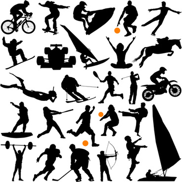 different of sport silhouette vector graphic set