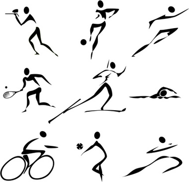 different olympic sports people silhouettes vector