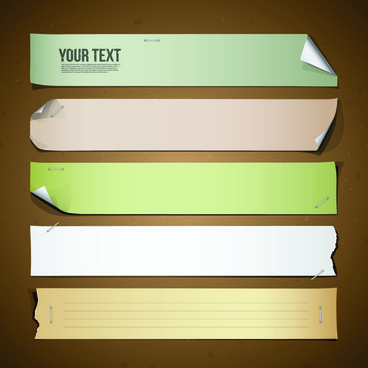 different paper banners vector
