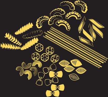 different pasta elements vector set